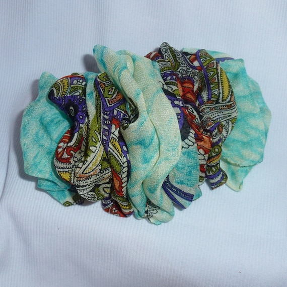 Becky Bows ~  Barrette chiffon Hand crafted over sized  BIG hair bow Women or Girls turquoise paisley