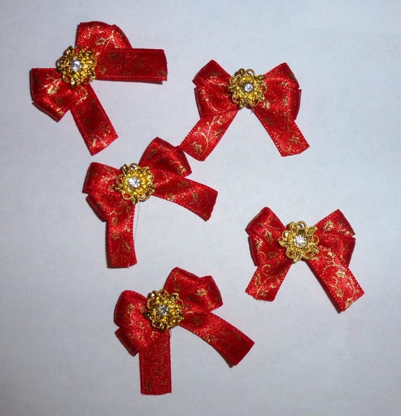 Puppy Bows ~5 red gold floral EVERYDAY BOWS Yorkie Maltese Shih Tzu ~Usa seller (fb81)