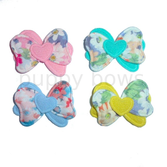 Puppy Bows ~ waving floral hearts padded dog barrette or bands  pet hair bow  - (fb222)