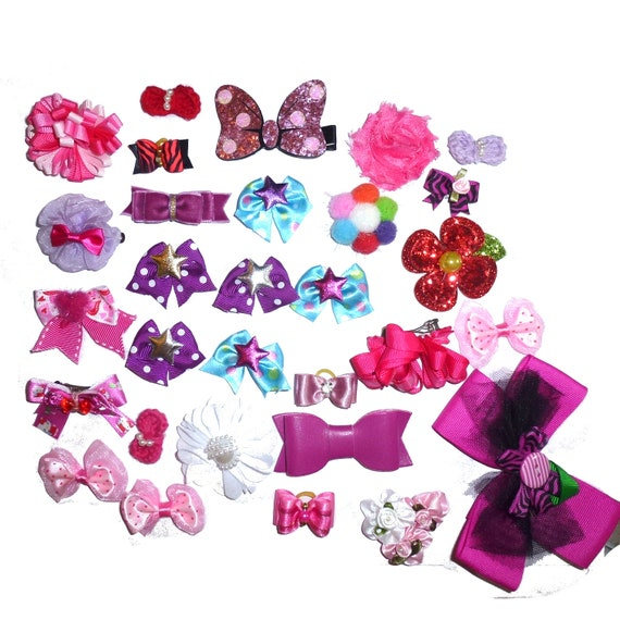 30 fancy bows pink dog grooming pet hair bows with latex band   (fb170)