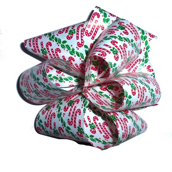 Dog bows  candy cane red/green plaid giant dog collar slide bow party puff flower