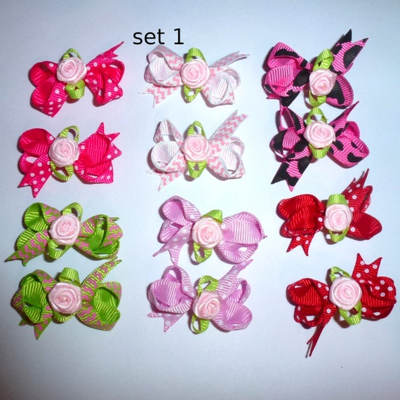 Puppy Bows ~ 12 twisted boutique rose dog bow for girls - pairs dog grooming pet hair bows - set 1