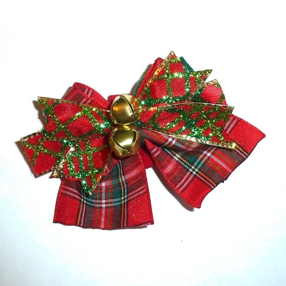 Puppy Bows ~ Christmas plaid jingle bell bow pet hair latex bands or clip ~USA seller