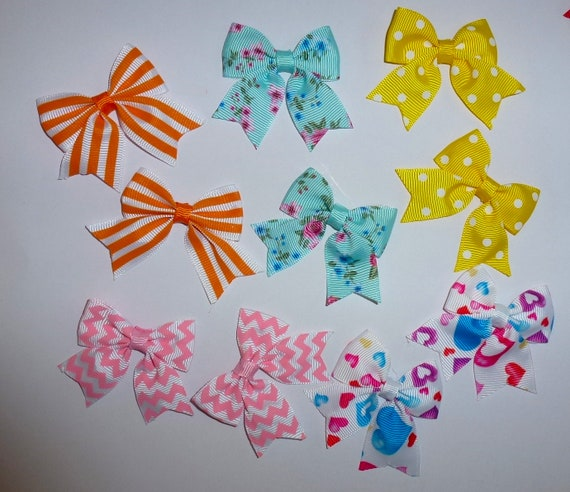 Puppy Bows ~ 10 dog bow for girls - pairs dog grooming pet hair bows - (218b)