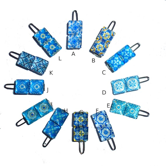 "Puppy Bows ~ Tiny 3/4"" blue willow paisley dog barrette hair clip 11 styles!"