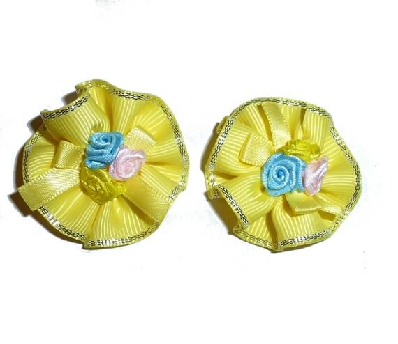Puppy Bows ~ Round yellow rose DOG GROOMING hair accessories bulk lot pet hair bowknots - (fb151)