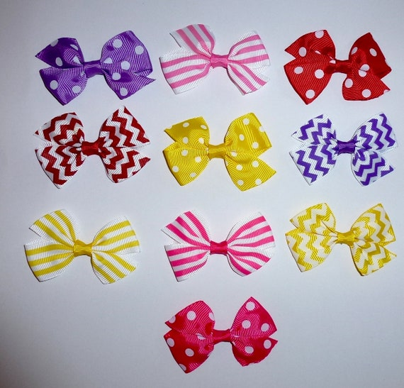Puppy Bows ~ 10 dog bow for girls - dog grooming pet hair bows stripes dots pink purple- (fb217)
