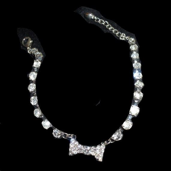 "Puppy Bows 10""-12"" rhinestone crystal bow dog necklace collar jewelry (fb147)"
