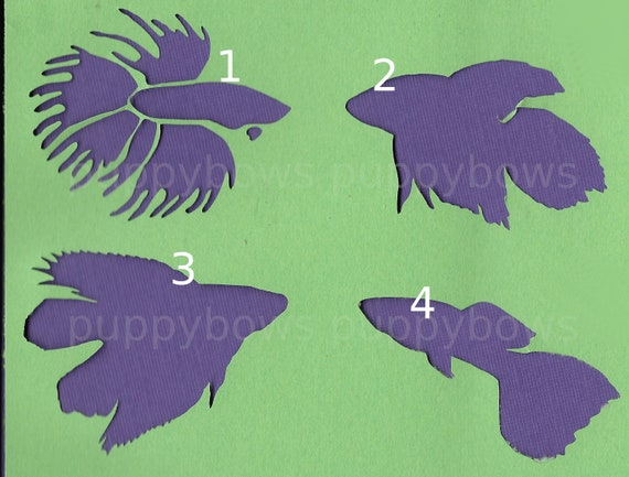 Puppy Bows ~  Betta Siamese fighting fish plastic craft stencil