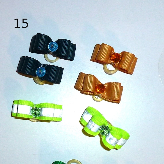 "Puppy Bows ~WEE TINY boys 3/8"" show bows pairs dog bow  pet hair clip barrette or latex bands (set15)"