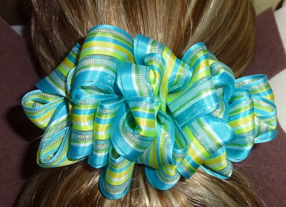 Becky Bows ~  Barrette ribbon Hand crafted oversized  BIG hair bow Women or Girls spring lemongrass blue