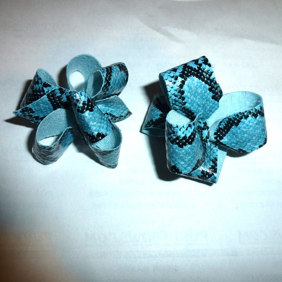 Puppy Bows ~blue snake pattern loopy puffs boys dog bow  pet hair clip barrette or latex bands (fb137)