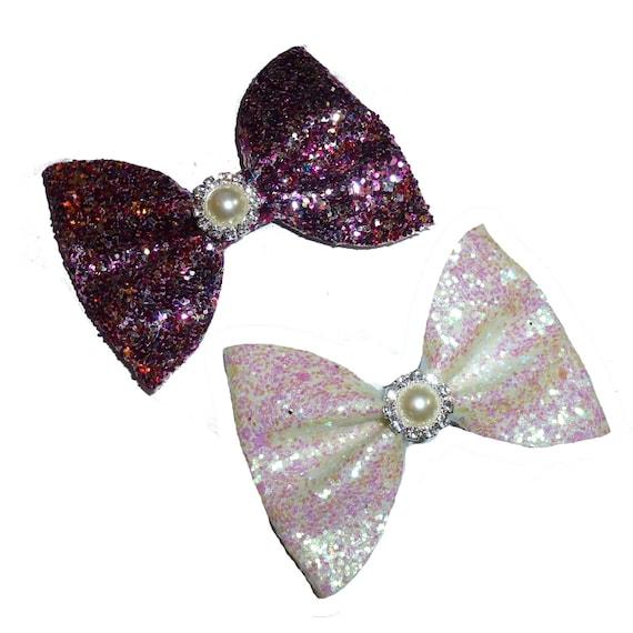 Puppy Bows ~ Big chunky glitter rainbow purple or white ab dog bowtie collar slide pearl rhinestone center (fb327)