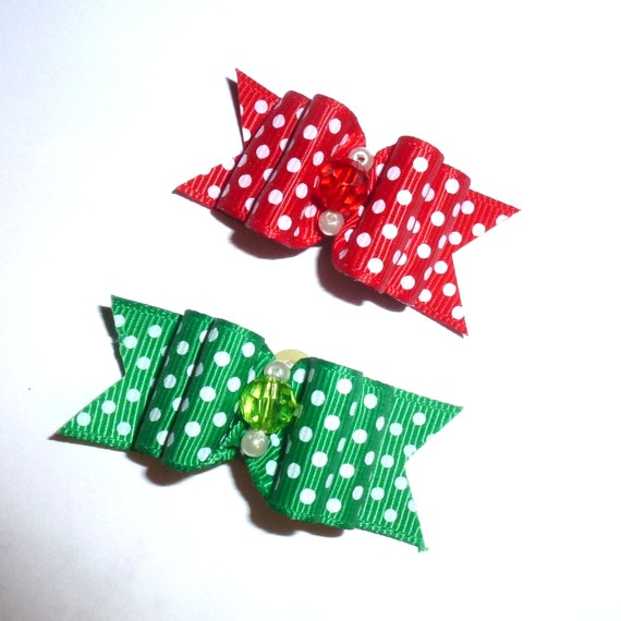 "Puppy Dog Bows ~ 7/8"" Christmas red green polka dots pet hair show bow barrettes or bands"