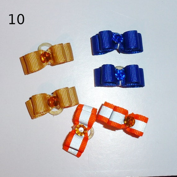 "Puppy Bows ~WEE TINY boys 3/8"" show bows pairs dog bow  pet hair clip barrette or latex bands (set10)"