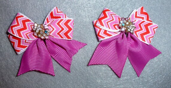 Puppy Bows ~ Fancy pink red stripe PAIR with rhinestone centers dog bow bands or barrette clips  (fb85)