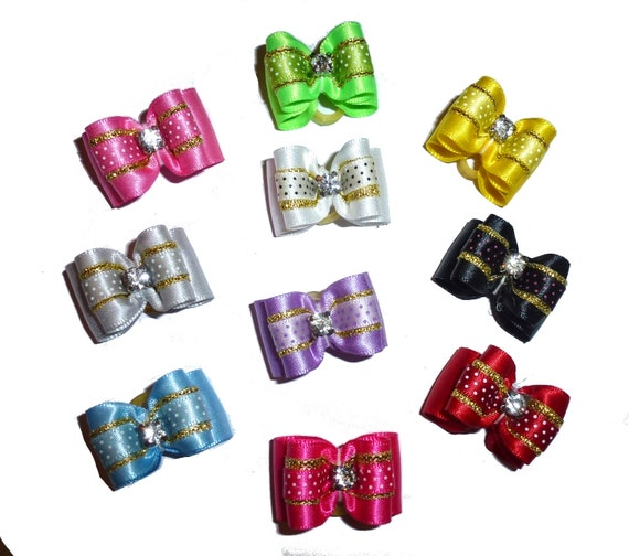 """Puppy Dog Bows ~ 7/8"""" satin swiss dots overlay  pet hair show bow barrettes or bands (FB314)"""