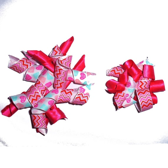Puppy Bows ~ Valentine's day dog collar slide accessory pink/red/white korker hearts pet bow barrette  ~USA seller (fb162)