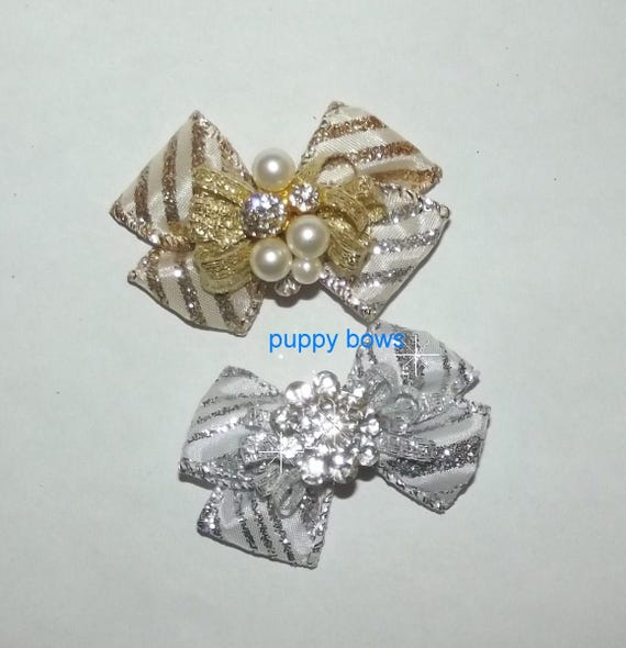 Puppy Bows ~  Boutique rhinestone silver or gold show pet hair bow latex bands or barrette  (fb80)