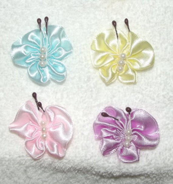Puppy bows ~ Spring Butterflies dog bows for your Yorkie pet hair accessories USA seller