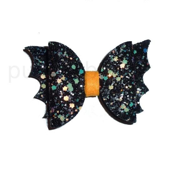Halloween dog bow Black bat dog collar slide accessory  hair bows barrettes or bands (fb319)