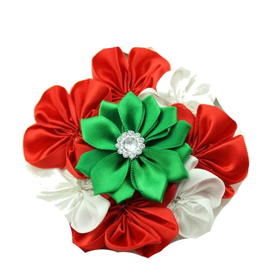 Puppy Bows ~ XL round dog bow Christmas collar slide flower red green  ~USA seller (dc5)
