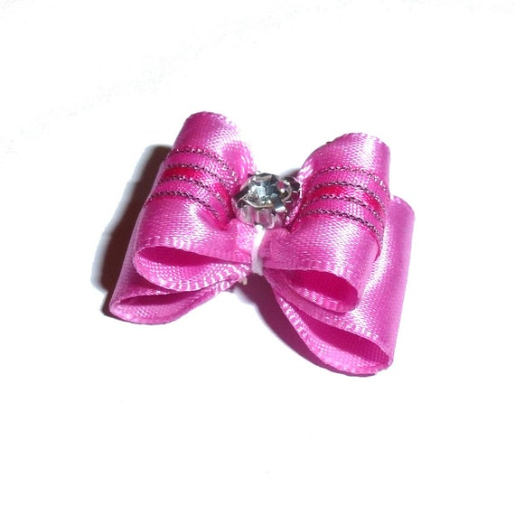"""Puppy bows ~ 7/8"""" hot pink kiss pet hair show bow barrettes or bands (FB290c)"""