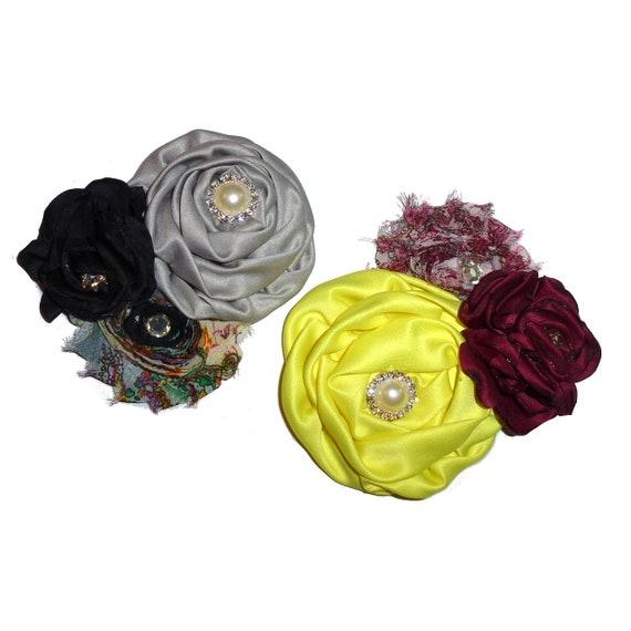 Puppy Bows ~ Dog collar slide bow large dog hair bows gray black yellow and rhinestones ~USA seller (dc11)