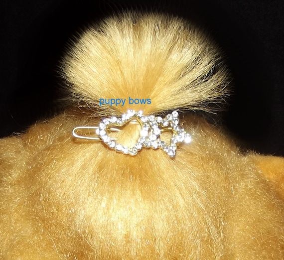 Puppy Bows ~TINY  crystal heart star rhinestone dog pet hair clip barrette  ~USA seller