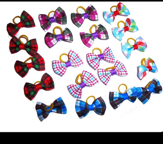 Puppy Bows ~  everyday 5 pairs dog groomers grooming pet hair bows boy colors (fb294)