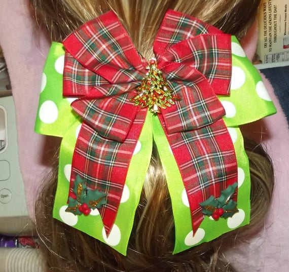 Becky Bows ~ Christmas RHINESTONE TREE center Barrette Hand crafted  BIG hair clip bow ladies or girls red green plaid dots
