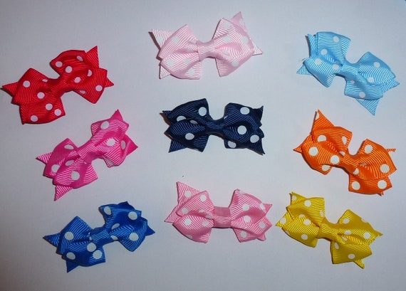 Puppy Bows ~ Polka dot pairs Poodle ear bow pet hair bowknots MANY COLOR CHOICES - (fb219)