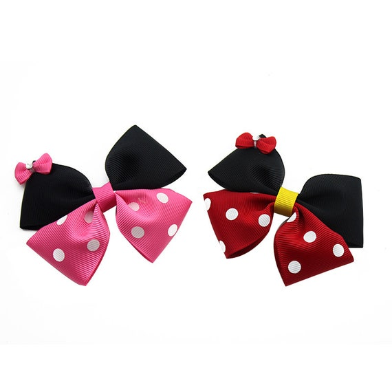 Puppy Bows ~ Minnie Mouse red or pink dots dog bow bands or barrette clips or collar slide  (fb305)