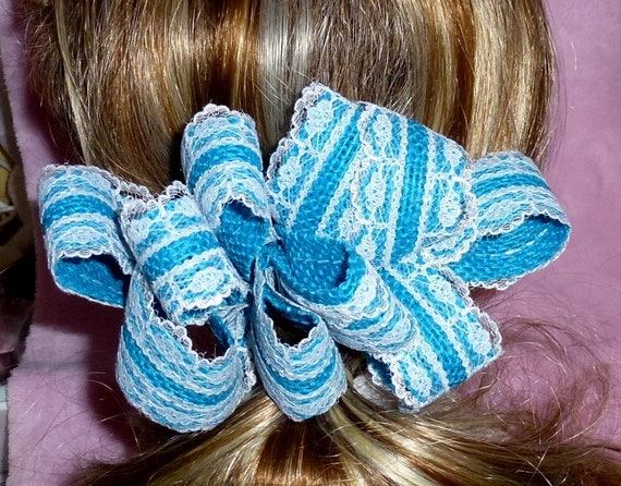 Becky Bows ~  Barrette scarf Hand crafted oversized  BIG hair bow Women or Girls blue burlap with lace