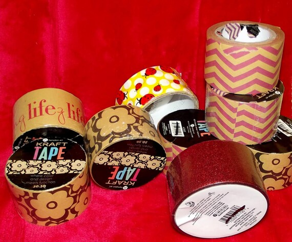 Puppy Bows ~ craft supplies 9 rolls duct tape ribbon brown floral pink zig zag ladybug glitter red