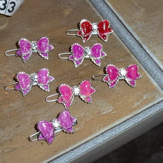 "Dog hair clip TINY 1"" rhinestone barrette pink enamel pet bow"