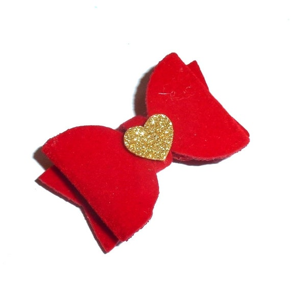 """Puppy Bows ~Red velvet  1.5"""" Christmas Valentines pet  hair bowknot bow bands or barrette  (FB38)"""