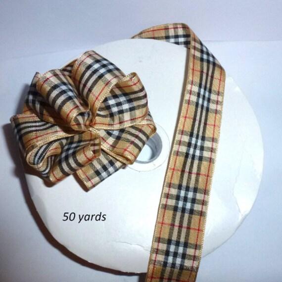 "Plaid ribbon craft supplies 1"" Scottish Tartan designer khaki black 50 yards taffeta satin"