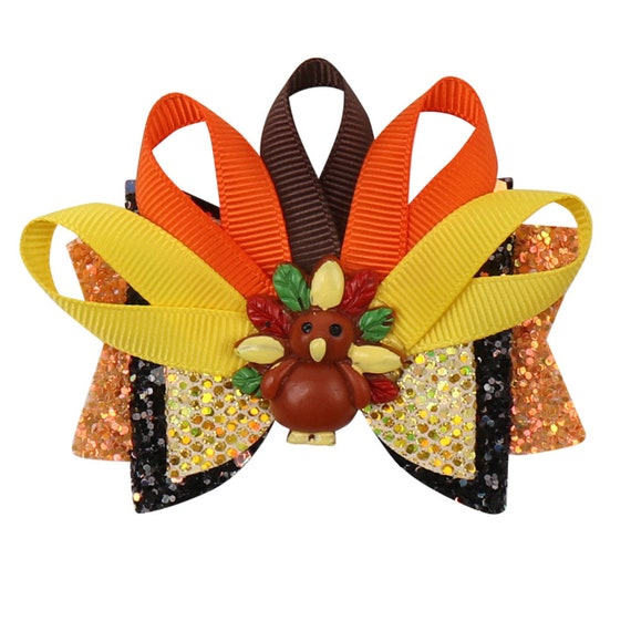 Puppy Bows ~ Thanksgiving turkey fantail glitter dog collar flower slide attachment  (DC8)