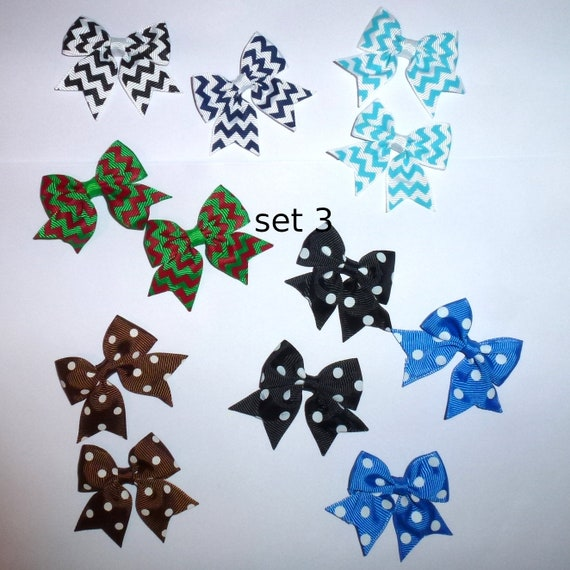 Puppy Bows ~ 12 dog bow for boys - pairs dog grooming pet hair bows (FB105)