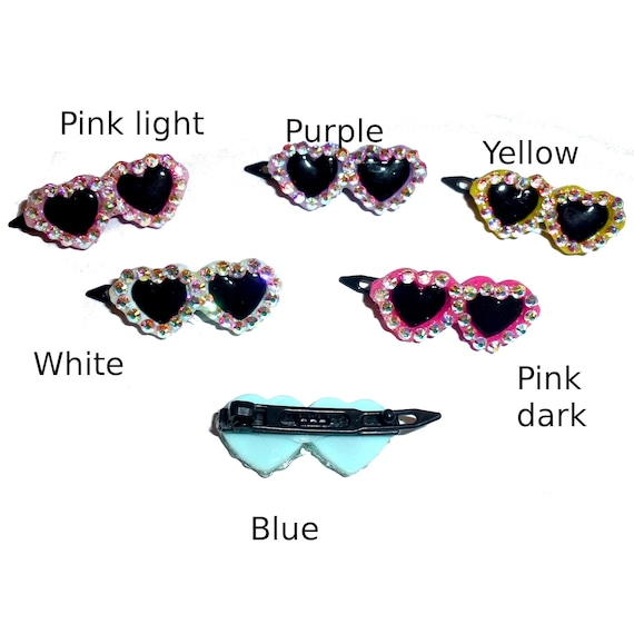 Puppy Bows ~ RHINESTONE Pink blue yellow black red heart barrette pet hair clip sunglasses bow