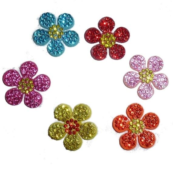 "Puppy Bows ~ padded rhinestone daisy flower small  around 1"" pet hair bow  - (fb136)"