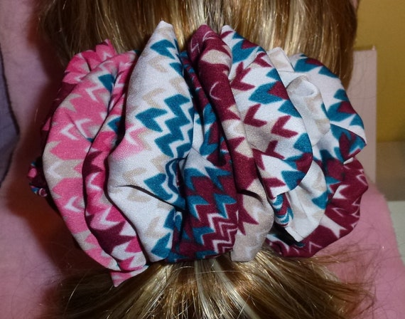 Becky Bows ~  Barrette scarf Hand crafted oversized  BIG hair bow Women or Girls burgundy pink tribal print