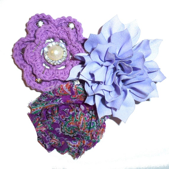 Puppy Bows ~ Dog collar slide bow large dog hair bows purple crochet and rhinestones ~USA seller (dc8)