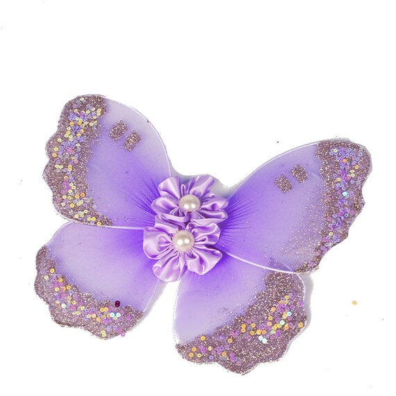 Puppy Bows ~ Pink Purple or Blue fairy butterfly wings with matching topknot dog bow fit 5lb - 25lb