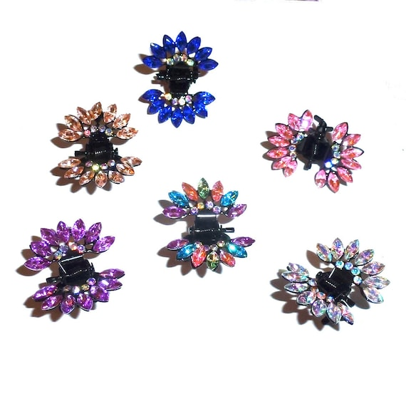 Puppy Bows ~ Feather headdress  tiny jaw clips for tiny dog hair bow pet barrette crystals (fb31)