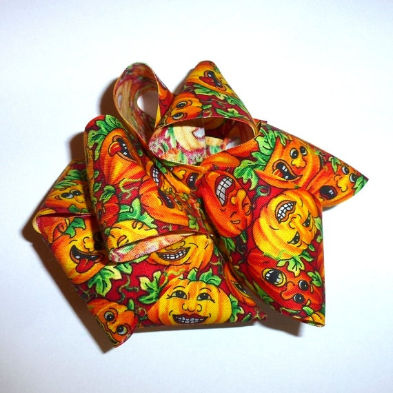 Dog bows  giant sized hair bow or collar bow HALLOWEEN funny pumpkin dog collar slide bow party puff flower