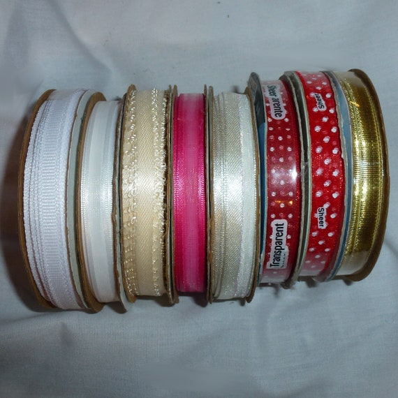 "Puppy Bows ~craft supplies LOT 8 rolls assorted red white ivory 1/4"" 3/8"" ribbon (lot19)"
