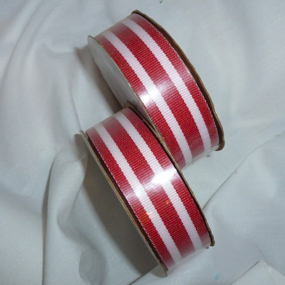 "Puppy Bows ~ ribbon craft supplies LOT 7/8"" red white stripes 6 yards Offray (lot10)"