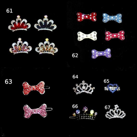 Puppy Bows ~Dog tiara crown styles 61-67 pink red blue crystal dog bone rhinestone ~USA seller